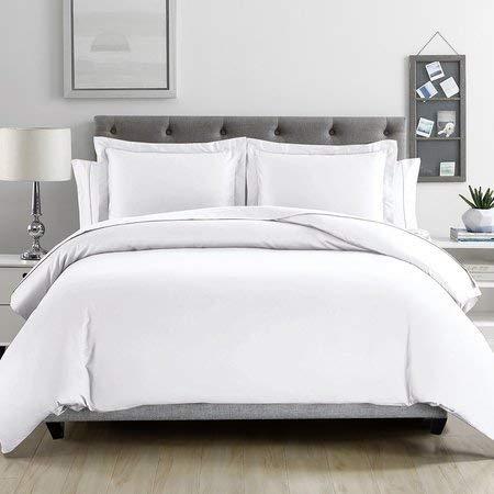 CreamComfort Duvet Cover 3 Piece Set (White, Duvet Set Double-200 cm x 200 cm)