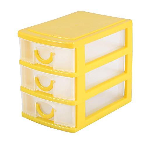 Liyeehao Organizador de cajones de 2/3 Capas, Caja de Almacenamiento de Mini cajones de plástico, Caja de contenedor de Maquillaje Desmontable para Dormitorio, Cocina(3 Layers Yellow)