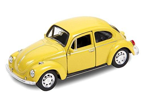 VW Beetle Modellauto 12 cm Käfer Modell 1:34 Bug Auto mit Rückzug von Alsino (56/0040 VW Käfer gelb)