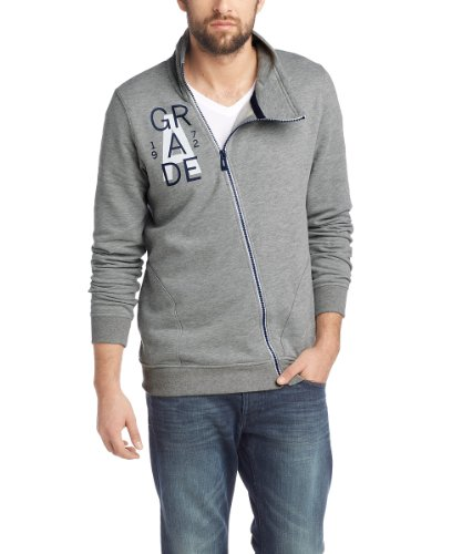 Edc By Esprit - Sweat-Shirt - Col Mao - Manches Longues Homme - Gris - Grau (Medium Grey Melange) -FR : Small (Taille Fabricant : S) (Brand size : Her