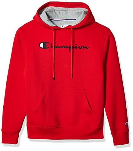 Champion Men's Powerblend Fleece Pullover Hoodie, Script Logo, Team Red Scarlet-Y06794, Small