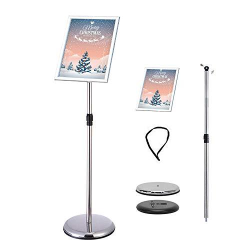 VAIIGO Póster de menú soporte ajustable reemplazable de acero inoxidable Publicidad signo soporte de, color plata A3