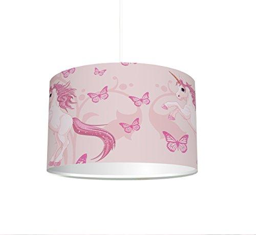 Kinderzimmer Lampenschirm 'Einhorn' KL06 - für Kinderzimmer als Steh- oder Hängeleuchte /...