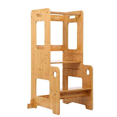 Taburete de cocina para niños, aprendizaje torre de paso, altura ajustable con riel de seguridad, madera maciza, barnizado (Producto para bebé)