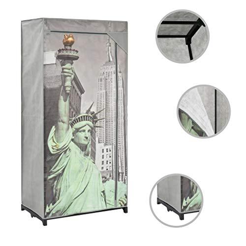 vidaXL Kleiderschrank Faltschrank Stoffschrank Campingschrank Garderobe Schrank Regal Textilschrank Garderobenschrank 75x45x160cm New York Stoff