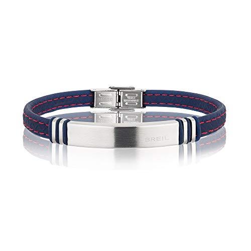 BREIL - Bracciale Uomo Savage TJ1975 - Cinturino in Acciaio e Silicone - Lunghezza 22 cm - Blu Scuro