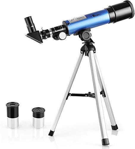TELMU Teleskop Licht Teleskope Vergrößerung tragbarer Refraktor mit Stativ Kinderteleskop mit 45-Grad-Diagonalspiegel,kann das Bild korrigieren,Anfänger betrachten den Mond und die Sterne(Geschenke)