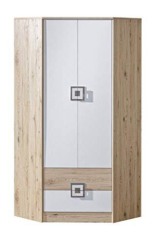 KRYSPOL Eckkleiderschrank NICO 02 Eckschrank mit 3 Einlegeböden, Kleiderstange und 2 Schubladen, Kinderzimmer (Eiche Hell/Weiß + Grau)