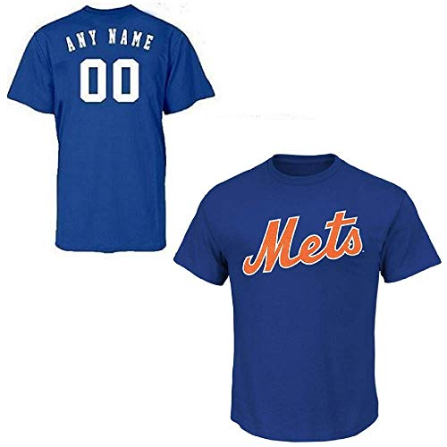 Majestic New York Mets Custom (Any Name/#) Adult XL Replica Jersey Royal Blue