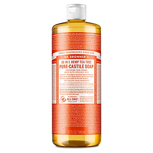 Dr. Bronner's - Pure-Castile Liquid Soap (Tea Tree, 32 ounce) - Made with Organic Oils, 18-in-1...