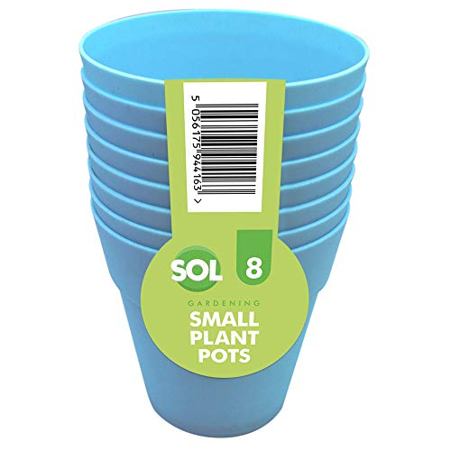 Sol 8 x Piccoli vasi per Piante, per Interni ed Esterni, in plastica Blu e Viola, Perfetti per Piante grasse, Cacti, Bonsai | Include ebook da Giardinaggio (Blu)