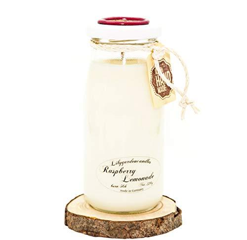 Lilygardencandles Duftkerze Himbeer-Limonade in der Michflasche / 100% Sojawachskerze / 6x14cm / 56+ Stunden Brennzeit/erfrischender Duft