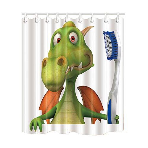 zxcyl Nette Dinosaurierpinsel Die Zähne Duschvorhänge Polyester Bad Display Wohnkultur Wasserdicht Mehltau Proof Vorhang Mit Haken * 200 * 180 cm