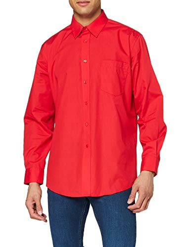 Fruit of the Loom SS103M Camicia, Rosso, Large Uomo