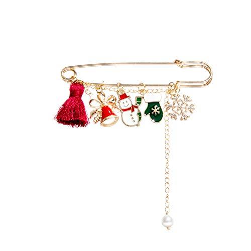 WXXW Christmas Brooches Of Various Shapes Exquisitely Handmade Gifts Accessories, Spilla di Natale Pin di Neve Set con Decorazioni Natalizie in Cristallo,Regali di Natale (D)