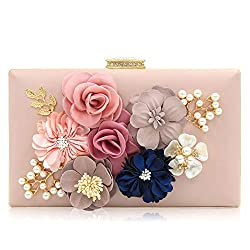 Floral Light Pink Clutch With Pearls and Rhinestones Purse