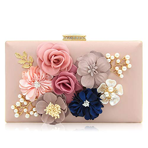 Milisente Evening Bag for Women, Flower Wedding Evening Clutch Purse Bride Floral Clutch Bag(Light Pink)