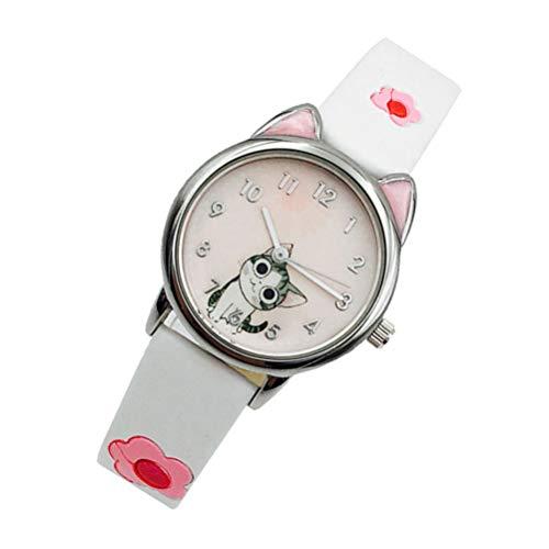 Hemobllo Nette Cartoon Analog Mädchen Jungen Kleinkind Armbanduhr Armbanduhr Mädchen Cartoon Katze Uhr Sport Armbanduhr