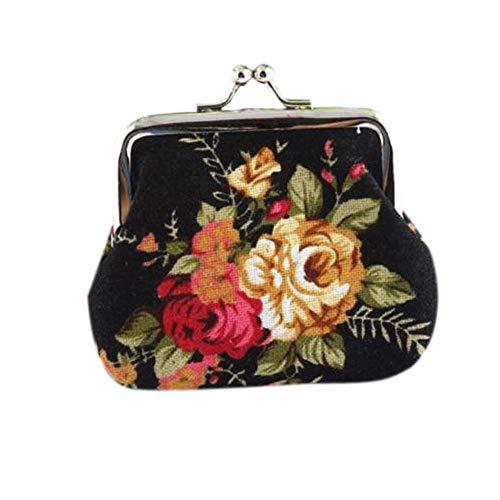 Auifor Frauen-Dame Retro Vintage Blumen-kleine Geldbörse Haspe Geldbeutel Clutch-Bag