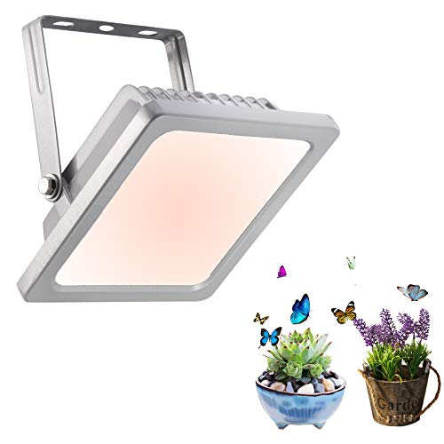 Full Spectrum LED Grow Light, IP44 Waterproof Flood Light Plug and Play Plant Light, Warm White Growing Lamps for Hydroponics Herb Veg and Flower