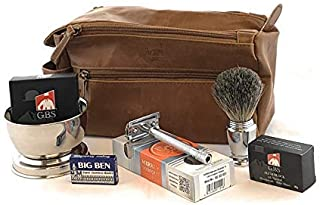 Deluxe Travel Dopp Kit - #23001 Double Edge Safety Razor, Chrome Shaving Brush, Bowl, Soap comes with GBS Alum Block + Leather Toiletry Bag
