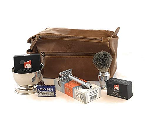 Merkur Deluxe Travel Dopp Kit - #23001 Double Edge Safety Razor, Chrome Shaving Brush, Bowl, Soap comes with GBS Alum Block + Leather Toiletry Bag