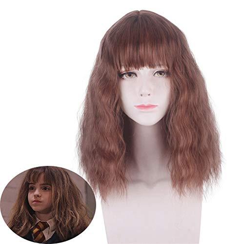 Pelcula Hermione Jean Granger Cosplay peluca marrn ondulado rizado peluca sinttica fiesta de Halloween disfraz pelucas Emma Watson