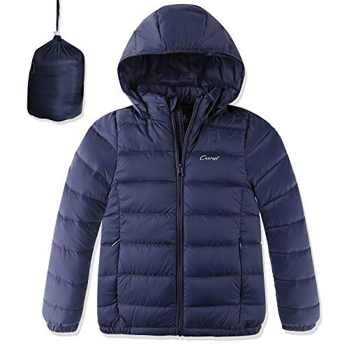 CUNYI Boys Girls Packable Hooded Lightweight Down Jacket with Detachable Hood Outerwear, Navy Blue, BY17387-110/56