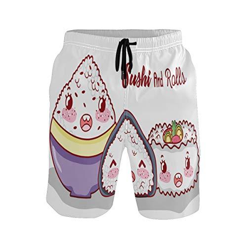 BONIPE Zwembroek voor heren Schattig Cartoon Sushi Roll Rice Ball Quick Dry Board Shorts met trekkoord en zakken