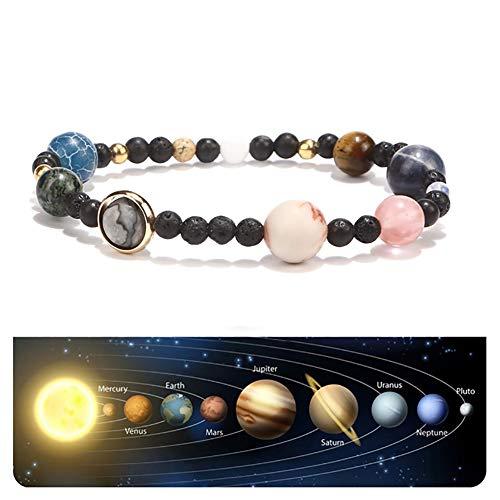 Xiton 1 STÜCK Chakra Solar System Armband NatüRliche Lava Rock Stones Perlen ArmbäNder Unisex-Schmuck 7 Chakren-Armband Stretch Acht Planeten Armband Armreif Geschenk FüR Liebhaber Freunde