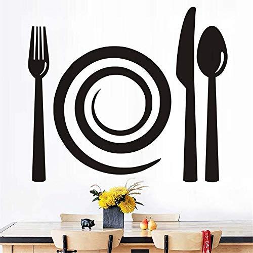 yuandp vork mes lepel muurtattoos afneembare PVC muurkunst muur keuken bakkerij etalage vitrine muursticker huis 44 * 38 cm