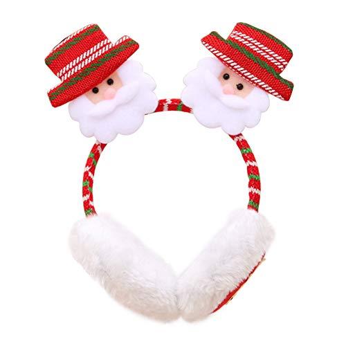 Lai-LYQ Dames Leuke Oordop Kerstman Elk Sneeuwman Patroon Haarband Winter Warm Hoofdband Oor Cover Kerstmis Gift Decoratie