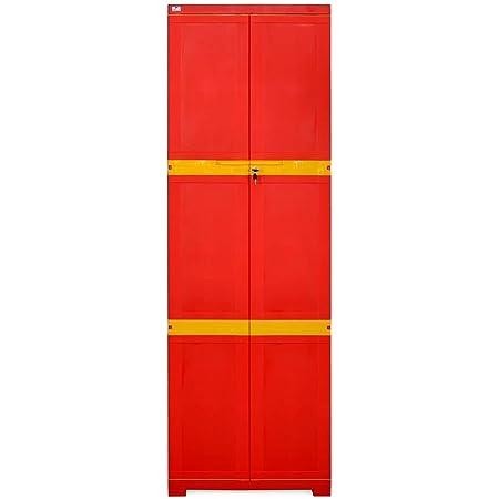 Nilkamal Plastic Mini Large Storage Cabinet (Bright Red and Yellow)
