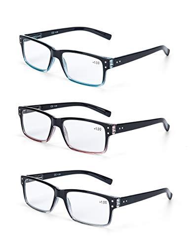 LANLANG 3er Pack Lesebrille 1.0 für Herren 3 Farben klare Gläser inkl. 0-3,5 Dioptrien L-L007