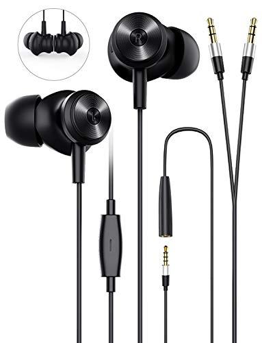 Auriculares Internos, Auriculares con Cable Bluedio Li estéreo y Sonido de Alta fidelidad con Tapones para los oídos Suaves y cómodos, Divisor en Y de 3,5 mm para PC, Portátiles, Teléfono móvil