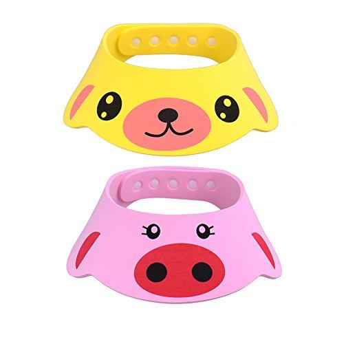 GZQES 2 pcs Gorro de Ducha para Bebés, Sombreros para Lavarse el Cabello para Bebe,Ajustable Gorro para Ducha del Baño (Estilo B)