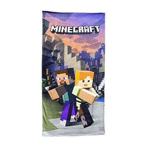 Asciugamano da spiaggia ufficiale Minecraft – Creeper/Goodguys Designs Minecraft Goodguys - Telo mare 140 x 70 cm Grigio