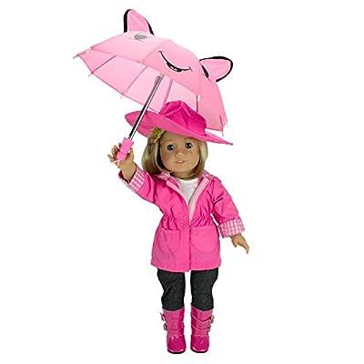 Dress Along Dolly Rain Coat Doll Clothes for American Girl Dolls:- Includes Rain Jacket, Umbrella, Boots, Hat, Pants, and Shirt