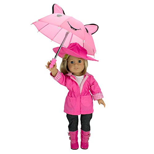Dress Along Dolly Rainy Day Doll Outfit for American Girl & 18' Dolls (6 Piece Set)- Clothes Includes Raincoat, Umbrella, Boots, Hat, & Shirt