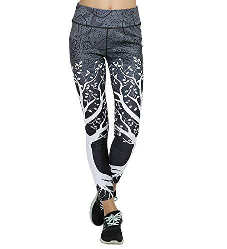 Pantaloni Yoga Donna Sport Tuta Donna Pilates Loose Fit Jogging Sportivi Pantaloni Spandex Push Up Leggings Atletico Fitness (Grigio, L)