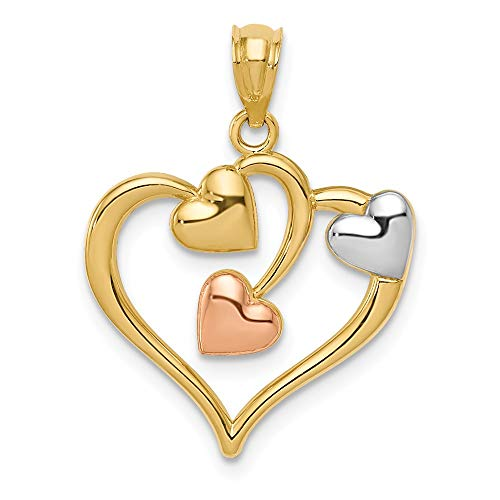 14k Two Tone Yellow Gold White Hearts Pendant Charm Necklace Love Multiple Fine Jewelry For Women Gifts For Her