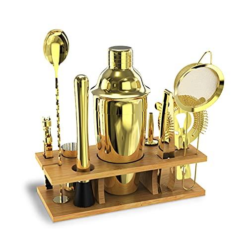 Ankishi Cocktail Shaker Set 11 Stück, 750ML Höchster Qualität  Edelstahl Barkeeper Kit Professionelles Martini Mixing Bartending Kit Kombination, Cocktail Geschenk für Frauen Männer Barmann(gold)
