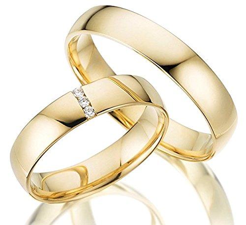 2 x 585 Trauringe 5.00mm Weißgold ECHT GOLD Eheringe schlichte Spannring LM.07.585.V2 Brillant Juwelier Echtes Gold Verlobungsringe Wedding Rings Trouwringen (14 Karat (585) Gelbgold, Diamant)