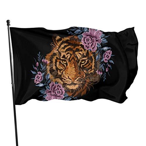 WDDHOME Blumen Blumen Stickerei Tiger wild und frei gedruckt Flagge Urlaub Hof Fahnen 3 x 5 Fuß lebendige Farben Qualität Polyester und Messing Ösen