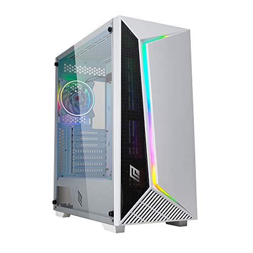 Noua Iron V9 Bianco Case ATX PC Gaming 0.60MM SPCC 3*USB3.0/2.0 Front Mesh Ventola White PWM Dual Halo Slim RGB Addressable e Strip Rainbow Pannello Laterale in Vetro Temperato (AxPxL:495x460x210 mm)