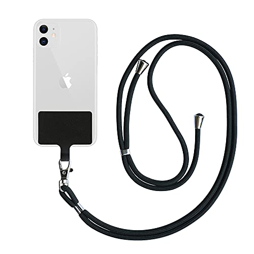 Generic Black Universal Cell Phone Lanyard with Adjustable Strap-Phone Lanyard for Around The Neck,Compatible with iPhone,Galaxy and All Smartphones-It is Multipurpose Can Be Used for Card and Key