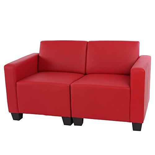 Sistema modulare Lione N71 salotto ecopelle divano 2 posti composto ~ rosso