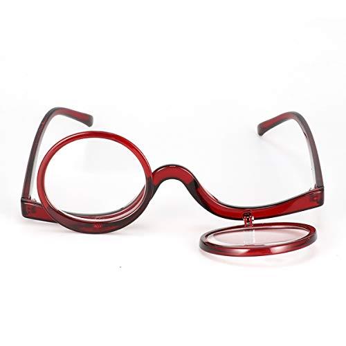 ECYC Make Up Brille Flip 2.0 Lesebrille Double Flip Lens Damen Kosmetik Presbyopie Brille, Rot, 2.0