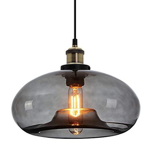 HJXDtech Suspension Luminaire vintage industrielle avec abat-jour en verre coloré, Lustre Loft Lampe à Suspension E27 en Bronze Antique (Gris)