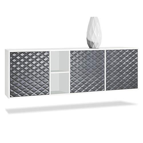 Vladon Sideboard Kommode Cuba, Korpus in Weiß matt/Fronten in 3D Stahlgrau
